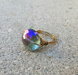 Purple Crystal Rainbow Ring